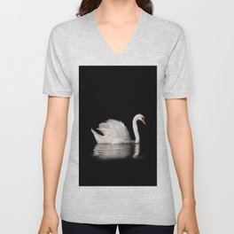 Mute Swan Cygnus olor at lake Unisex V-Neck