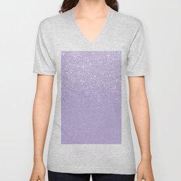 Stylish purple lavender glitter ombre color block Unisex V-Neck
