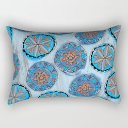 Pennsylvania Dutch Blue Hex Pattern Rectangular Pillow