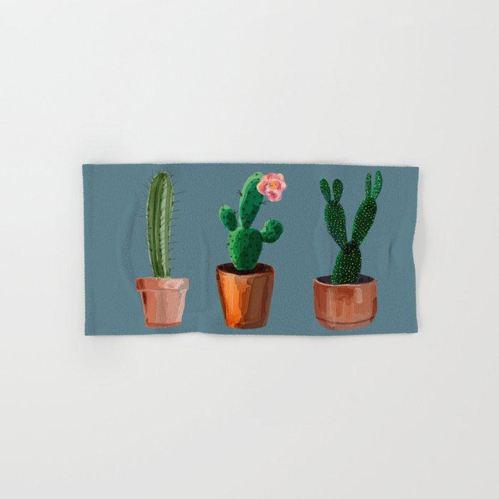 Three Cacti On Blue Background Hand & Bath Towel