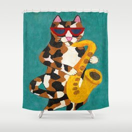 Calico Cat Saxophone Player Shower Curtain