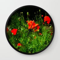 poppies Wall Clocks featuring Poppies by Vitta