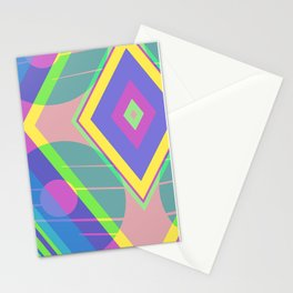 Neon and paster abstract diamond Stationery Cards