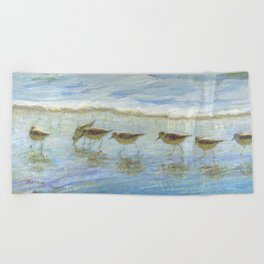 Shorebirds, A Day at the Beach Beach Towel