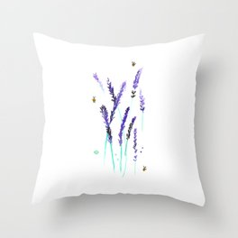 Lavender & Bees Throw Pillow