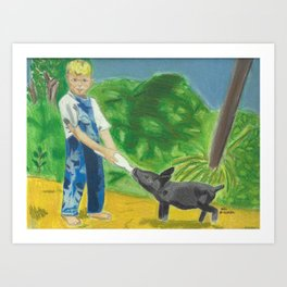 A Boy and his Pig Art Print