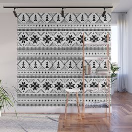 Fair Isle christmas pattern snowflakes camping winter trees christmas tree minimal black and white Wall Mural