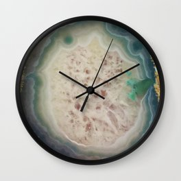 Blue, Green, & Teal Geode Pattern Wall Clock