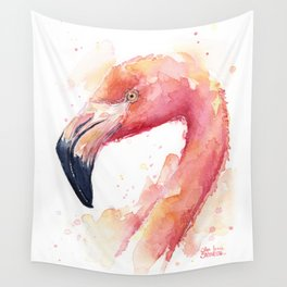 Flamingo Watercolor Pink Bird Tropical Animal Wall Tapestry