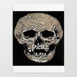 Full Skull With Rotting Flesh Vector Poster