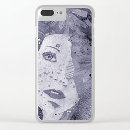 Lack Of Interest: Silver (graffiti dark lady with daisies) Clear iPhone Case
