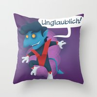 nightcrawler Throw Pillows featuring Little Nightcrawler by Alex Santaló