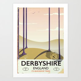 Derbyshire vintage rail poster Art Print