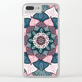 Mandala Pink and Green Clear iPhone Case