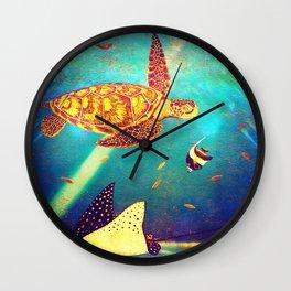 Beautiful Sea Turtles Under The Ocean Painting Wall Clock