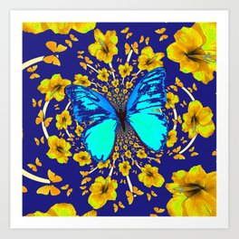 TURQUOISE BLUE YELLOW AMARYLLIS BUTTERFLY ART Art Print