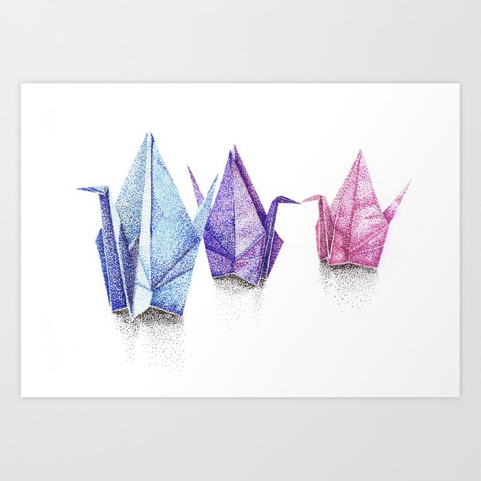 Paper Cranes Pointillism Drawing Art Print By Graceyzee Society6