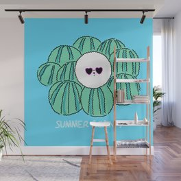 Cute Bichon frise dog with watermelon background. character design Wall Mural