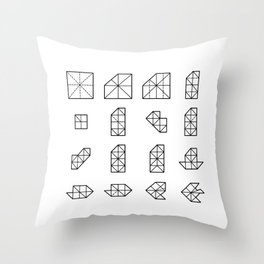 Origami Fish - Step by Step (Black) Throw Pillow