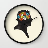 shaun of the dead Wall Clocks featuring Shaun Phrenology by Wharton