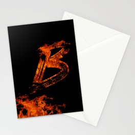 Burning on Fire Letter B Stationery Cards