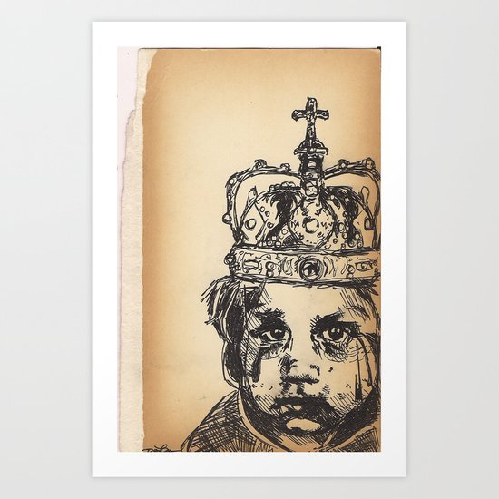 Baby crying crowned Art Print