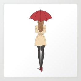 Fashion Girl Red Umbrella Red Bottom Heels Art Print