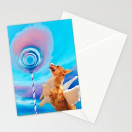 Giant pink cloud lollipop and a flying corgi Stationery Cards