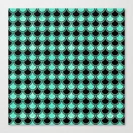 Aqua Mermaid Scales Pattern Canvas Print