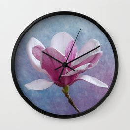 Pink Magnolia Flower Wall Clock