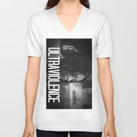 ultraviolence V-neck T-shirts featuring ULTRAVIOLENCE GIRL. by Beauty Killer Art