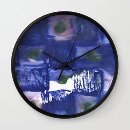 Blue squares clouded watercolor Wall Clock