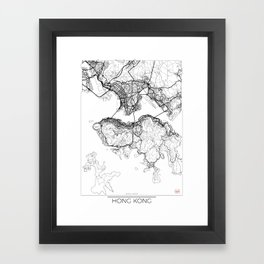 Hong Kong Map White Framed Art Print