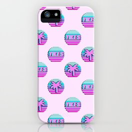 """Vaporwave pattern with palms and words """"yikes"""" #2 iPhone Case"""
