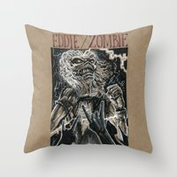 iron maiden Throw Pillows featuring Eddie the Head / Iron Maiden (DRAWLLOWEEN 8/31) by pakowacz