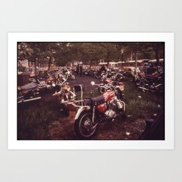 Parked Motorcycles Vintage Photograph Art Print