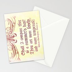 Shall I comare thee to a summer's day? --Sonnet 18 Shakespeare Quote Stationery Cards