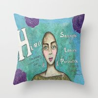 hero Throw Pillows featuring Hero by Leanne Schuetz Mixed Media Artist