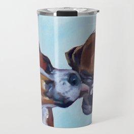 Kissing Boxers Dogs Portrait Travel Mug