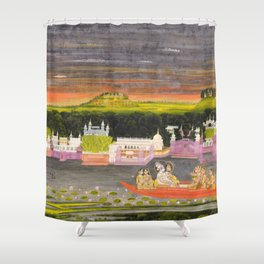 Radha and Krishna in the boat of love, 1755 Shower Curtain