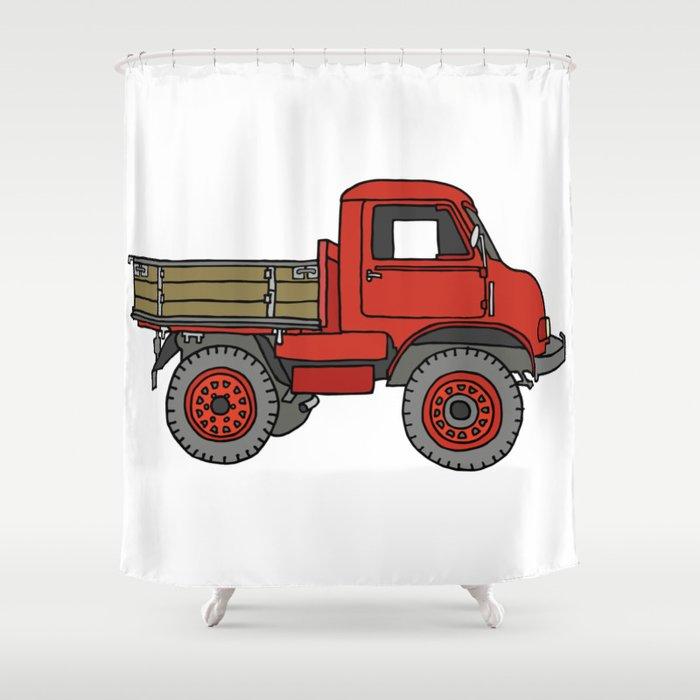 Red truck / transporter Shower Curtain