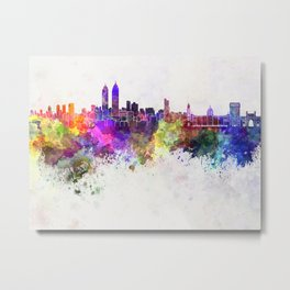 Mumbai skyline in watercolor background Metal Print