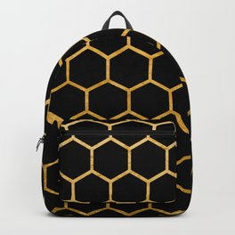 Black and gold foil honeycomb pattern Backpack