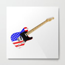Stars And Stripes Guitar Metal Print
