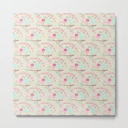 Pink teal gren love birds my valentine romantic floral Metal Print