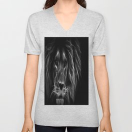 lion.  Black & White Unisex V-Neck