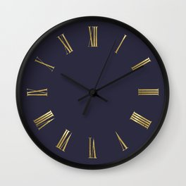 Golden Roman Numbers Wall Clock on Navy Blue Background Wall Clock