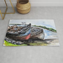 Wrecked River Boats Rug