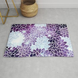 Space Dahlias Purple Ice Rug