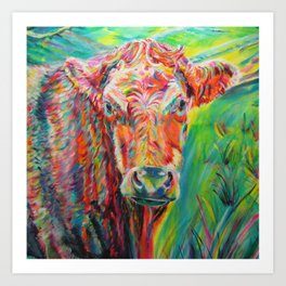Colourful charolais bull Art Print